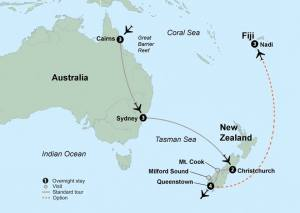 Australia New Zeland Fiji Tour Map